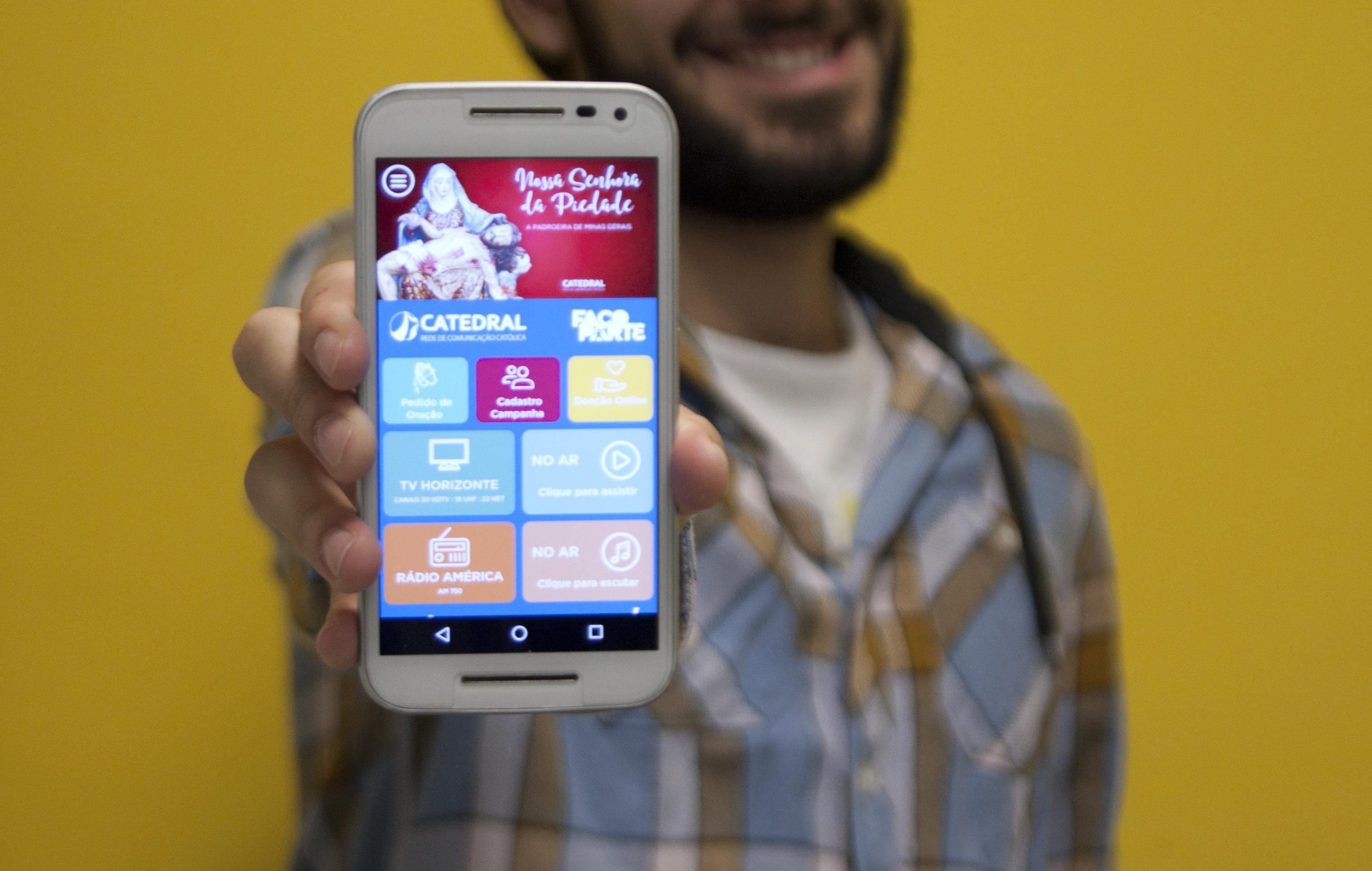 Aplicativo está disponível para smatphones Android e IOS. Imagem: Rede Catedral